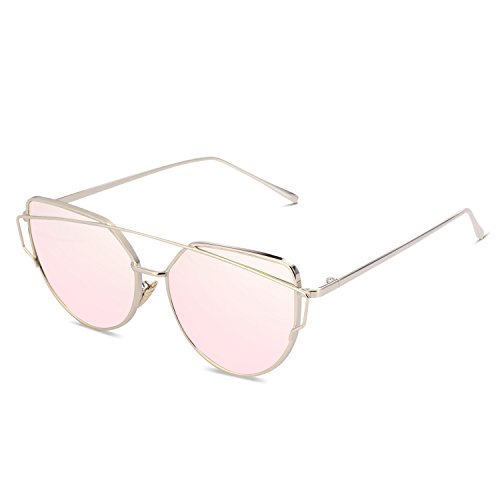 SUASI Womens' Sunglasses Vintage Reflective Flat Rimless Metal Aviator Sunglasses 66080(pink, - Reflective Gold Sunglasses Rose
