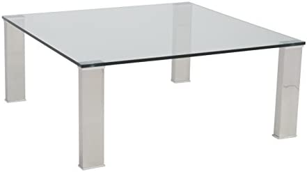 Eur Style Beth Clear Glass Top Polished Stainless Steel Square Coffee Table