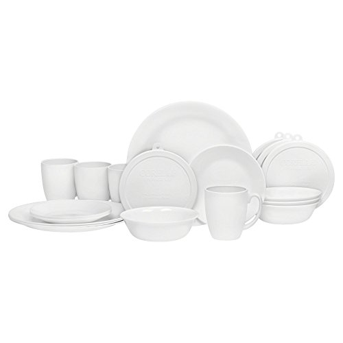 Corelle 20 Piece Livingware Dinnerware Set with StorageWinter Frost White Service for 4  sc 1 st  Amazon.com & Dishes Dinnerware Sets Made In The Usa: Amazon.com