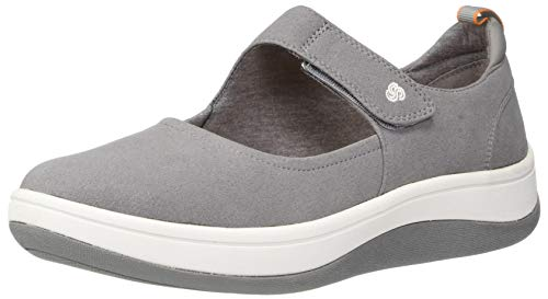 CLARKS Women's Arla Air Mary Jane Flat, Grey Textile, 60 M US