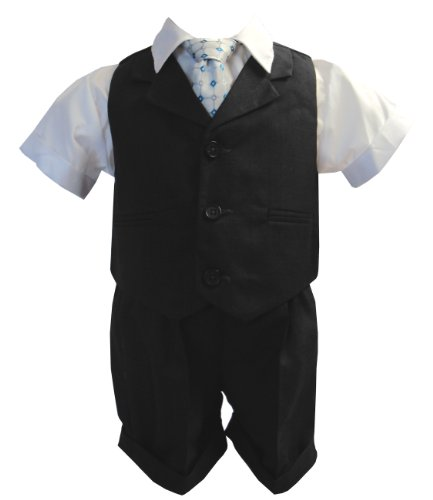 Gino Giovanni Baby and Toddler Boy Summer Suit Charcoal/grey Vest Short Set
