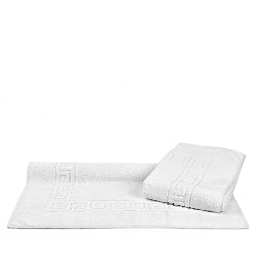 Luxury Hotel & Spa Towel Turkish Cotton Greek Key (Large Bath Mat - Set of 2, White)