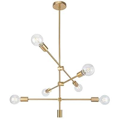 Mobile Sputnik Chandeliers Light Fixture 6 Lights,Brass Modern Ceiling Lamps,Gold Mid Century Pendant Lightings for Bedroom Hallway Bar Kitchen Dining Living Room,UL Listed