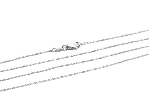 (925 Sterling Silver Cable Chain 0.75mm Italian Necklace Chain by BEEZZY BEEDZ)