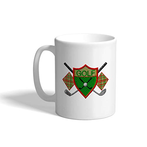 - Ceramic Funny Coffee Mug Coffee Cup Sport Golf Vintage Crest Logo White Tea Cup 11 Ounces