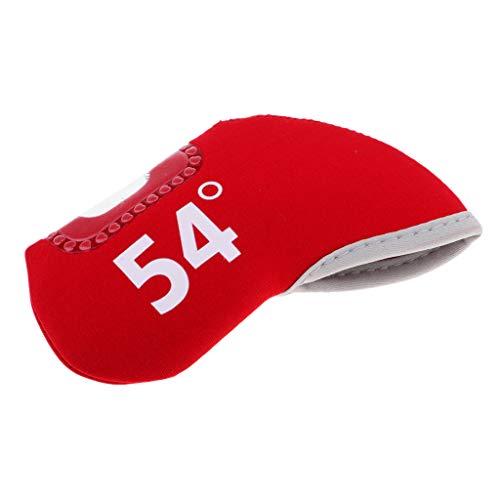 比類なき編集者保持D DOLITY ゴルフクラブアイアンパターヘッドカバー プロテクター アクセサリー 全3色7タイプ - 赤, 54度