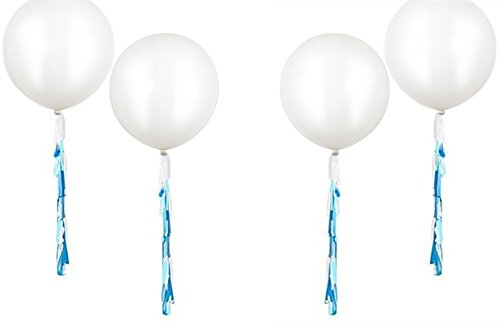 Fonder Mols 35 pcs 36'' Giant White Round Latex Party Balloons with Multicolor Confetti and Baby Blue Turquoise White Paper Tassels Blue Party Hanging Decoration