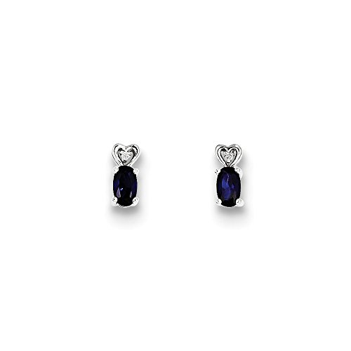 Mia Diamonds 925 Sterling Silver (.01cttw) Simulated Sapphire and Diamond Earrings (8mm x 3mm) by Mia Diamonds and Co.