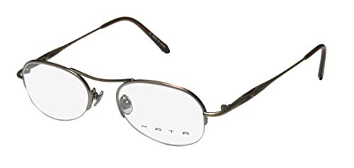 Kata Noa Mens/Womens Designer Half-rim Color Combination Fashion Accessory Eyeglasses/Eyewear (47-19-140, Taupe/Brown)