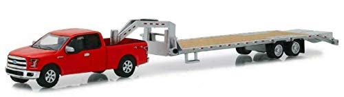 2017 Ford F-150 Pickup Truck Red with Gooseneck Trailer Hitch & Tow Series 1/64 Diecast Models by Greenlight 32151 from Greenlight