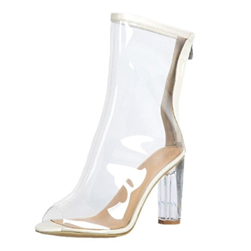 Heels 7 UK Peep MERUMOTE 2 Size Thick High Toe Women 5 5 Transparent Pumps Elegant OawPqx0BwR