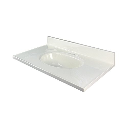 (Transolid 1409-7121 25-in x 19-in Cultured Marble Bathroom Vanity Top in White on)