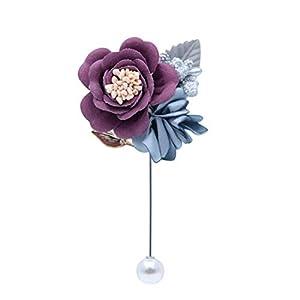 Boutonniere for Men Wedding Graduation Party Boutonniere Wedding Groom Groomsmen Brooch Rose Boutonniere pin Suit Dress Accessories (Purple) 77