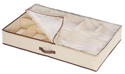 Storage Maniac Durable 10-Pair Underbed Shoe Organizer with Inserted Cardboard, with Clear Cover and Secure Zipper Closure