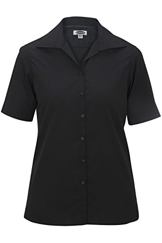 Edwards-Elliesox Elliesox Ladies Lightweight Short Sleeve Poplin Blouse 3XL Black 5245 (Edwards Short Sleeve Blouse)