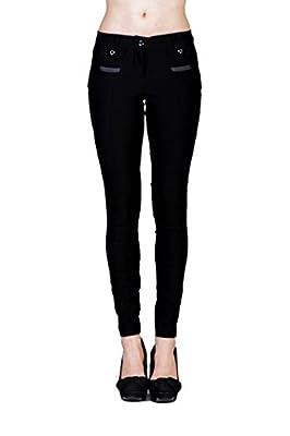 VIRGIN ONLY Women's Button Zipper Skinny Trouses Pants