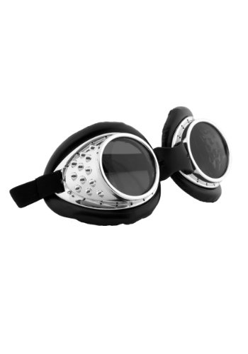 elope Radioactive Steampunk Aviator Goggles Silver ()