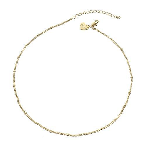 Fettero Gold Chocker Handmade Beads Boho Chain Necklace 14K Gold Fill Hypoallergenic 12