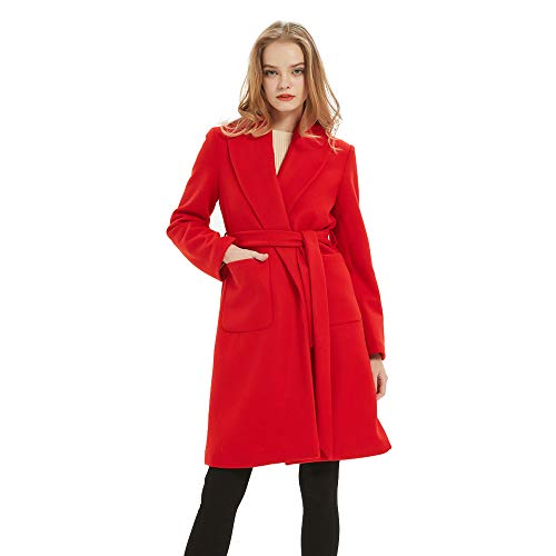 Women Wrap Coat Long Belt Cardigan Trench Coat Front Open Overcoat with Pockets Red
