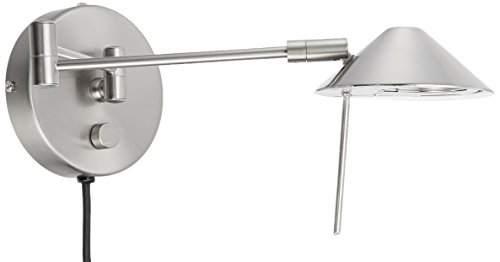 (Lite Source LS-16350PS Rhine Swing Arm Wall Lamp with Metal Polished Steel Shade, Polished Steel)