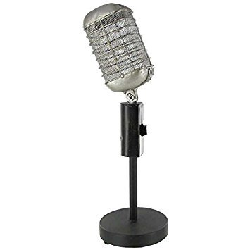 Antique Silver & Black Microphone Table Decor]()