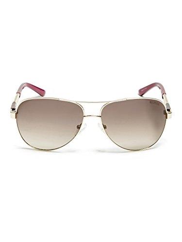eaa6716cf7d GUESS Factory Women s Chain-Trim Metal Aviator Sunglasses ...