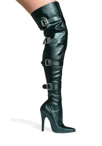 Kvinnor 5 Tums Klack Stretch Låret Boot (svart Pu; 10)