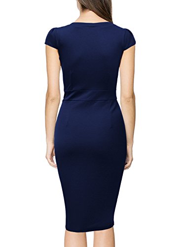 de Femme Casuale Travail Miusol Soire Bleu Col Bodycon V Robe TP1pqw