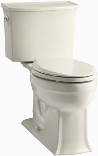 KOHLER K-3551-47 Archer Comfort Height Two-Piece Elongated 1.28 GPF Toilet with AquaPiston Flush Technology and Left-Hand Trip Lever, Almond