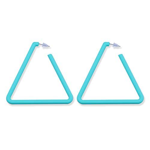 GUNIANG Large Colorful Blue Triangle Hoop Earrings for Women Girls, Geometric Earring Hoops for Sensitive Ears Fun - Earrings Designer Geometric