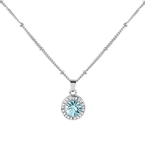 Lux Accessories Synthetic Aquamarine Aqua March Birthstone Pendant Disc Pave Charm Pendant Necklace Birthday Stone