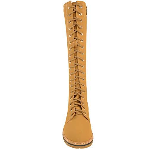 Faux Doux Bottes Genou Soif Arme Femmes Dames Haute Mode Fonc En Taille Chaussures Timbs Cuir Lacets Combat D'hiver Miel afHqwppx