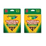 Crayola LLC Products - Triangular Anti-roll Crayons, Nontoxic, 16/BX, Assorted - Sold as 1 BX - Crayola Triangular Anti-roll Crayons are ideal for student art projects. Triangular design prevents the crayons from rolling off desks and makes it easy for students to get a grip on proper writing habits. Great for classroom and home use. Inside the box is a reusable, durable tray and clear plastic lid for ease of storage and distribution in the classroom. Nontoxic.