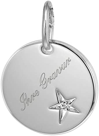 trendor Silber Gravur-Anhänger mit Diamant inklusive Wunsch-Gravur Gravurplatte Sterlingsilber, Silberschmuck für Damen und Herren, Gravurschmuck, 75015