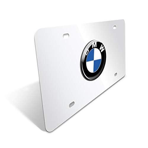CAR FANS Heavy Duty 3D Stainless Steel License Plate Cover for BMW,All for BMW Models,Personalize Your BMW License Plate Frame (Silver vs Mirror)