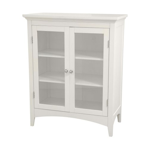 Elegant Home Fashions Madison Collection Shelved Double-Door Floor Cabinet, White (Panel Storage Recess)