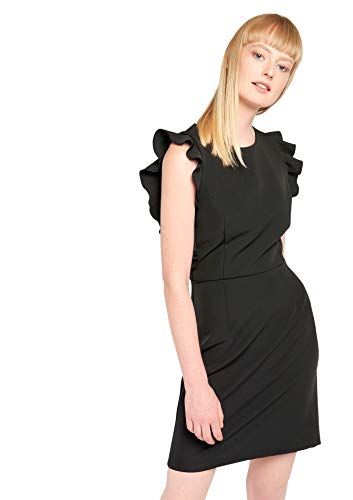 Black Ruffles 44 with Dress 34 LOLALIZA Sizes Plain qZ1ggI