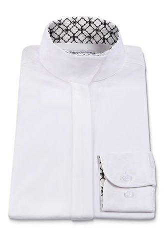 RJ Classics Ladies Prestige Collection Medallion Trim Show Shirt White/Black