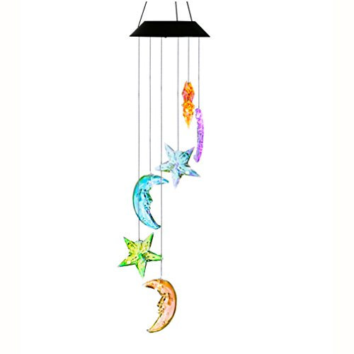 Changing Color Mobile Light, Anzome Star & Moon Spiral Spinner Windchime Portable Outdoor Decorative Romantic -