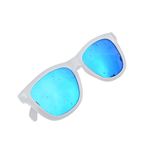 KENTKING Polarized Wayfarer Sunglasses,Unisex Clear Matt Frame TAC Mirrored Lens Beach Sunglasses (Matt Clear/Ice ()