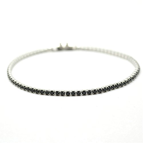 - FANGZHENG 2Mm Wide 7.5 Length Stainless Steel Crislu Tennis Bracelet Lovely Gift For Women Fashion Jewelry Black