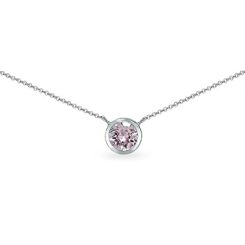 - Sterling Silver Pink 6mm Round Bezel-Set Dainty Choker Necklace Made with Swarovski Crystals