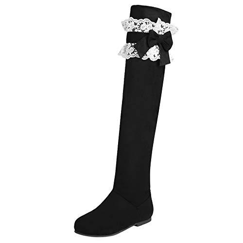 Automne Knee Stretch Longue Plate Taoffen Femmes Hiver Over Noir Bottes 0w5nqgSH