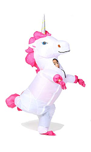 Inflatable Unicorn Costume Horn Horse Halloween Suit for Kids (Sliver-Kid)