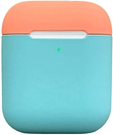 Protective Airpods Case [Front LED Visible][Supports Wireless Charging][Made of 2 Pcs] Shock Proof Soft Skin for Airpods Charging Case 1&2 (Ice Blue/Flamingo)