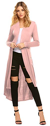 - Pink Women's Long Open Front Drape Overside Lightweight Maxi Long Sleeve Cotton Cardigan Sweater (US XL(16-18), Pink)