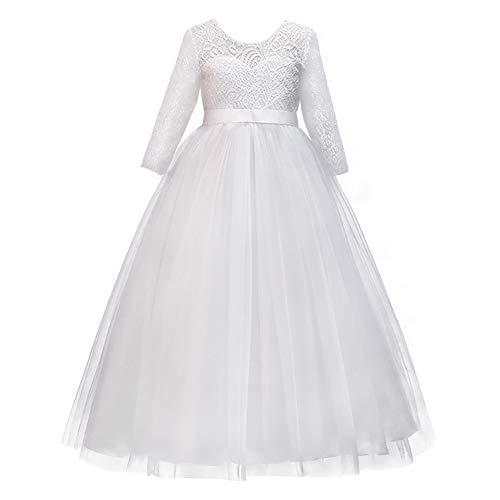 OBEEII Prinsessenjurk voor meisjes, met bloemenkant, baljurk, feestkostuum, optocht, ceremonie, bruiloft, bruidsmeisje…