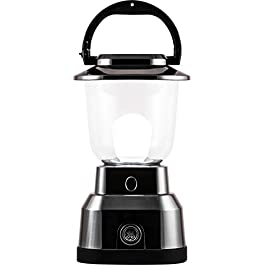 Enbrighten Brushed Nickel LED Camping Lantern, Battery Powered, 550 Lumens, 280 Hour Runtime, Carabiner Handle, Hiking Gear, Emergency Light, Blackout, Storm, Hurricane, 14210