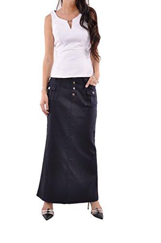 Long Cargo Skirt - Style J Classic Cargo Long Denim Skirt-Blue-34(14)