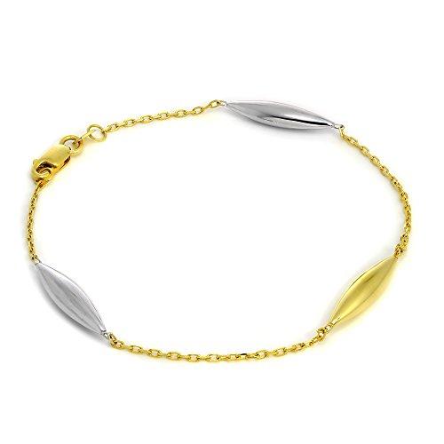 Bracelet Fin en Ors Jaune et Blanc 9 Carats
